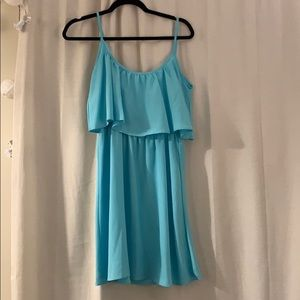 Aqua blue light ruffled dress